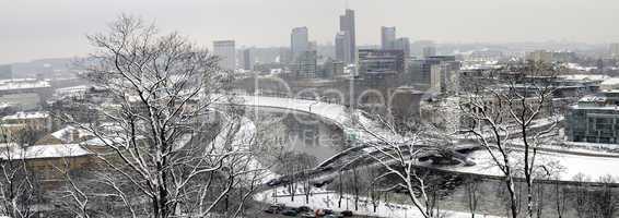 Winter panorama of Vilnius