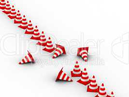 Traffic Cones. 3D illustration. Isolated, on white background