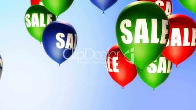 Balloons Sale on Blue (Loop)
