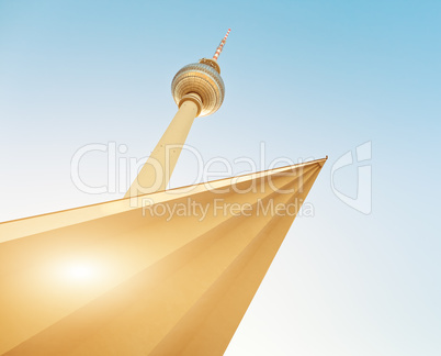 television tower in berlin mitte with blue sky (Fernsehturm Berlin), famous landmark in Berlin Germany
