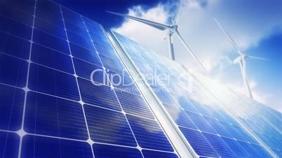 Solar Panels Sky Wind Turbines (Loop)