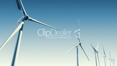Wind Turbines on Blue (Loop with Matte)