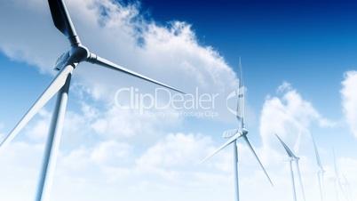 Wind Turbines with Sky (Loop)