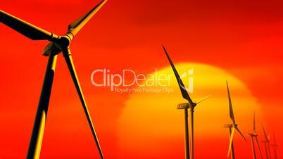 Wind Turbines on Sunset (Loop with Matte)