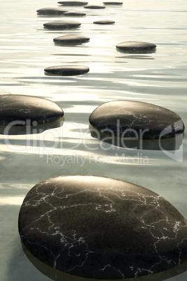 step stones black