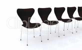 Designer Stuhlreihe - Schwarz Silber