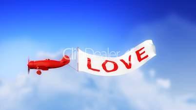 Love Plane in Clouds (Loop)