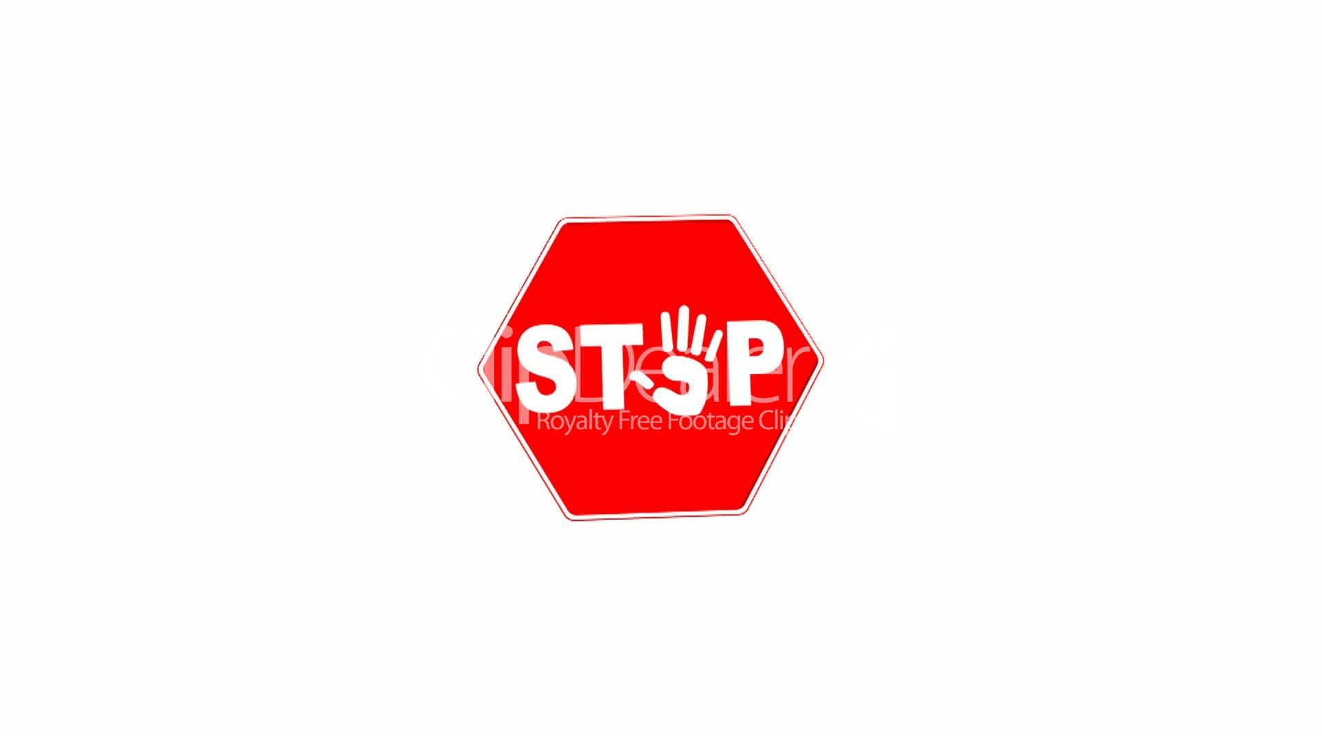 Stop hand sign loop with matte royalty free video and stock symbol biocorpaavc