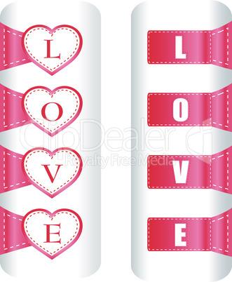 Valentine heart love labels. Vector pattern art