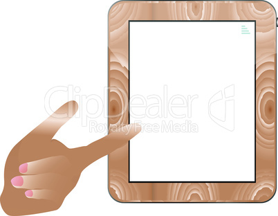 hand holding a touchpad wood tablet pc. vector
