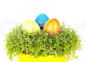 Three different coloured eastrn eggs in a yellow cup