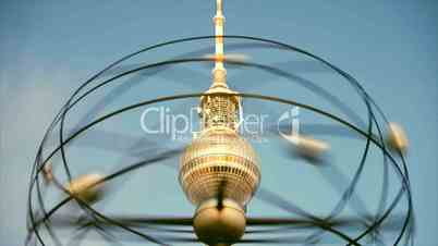 The World Time Clock (Weltzeituhr) & TV Tower (Fernsehturm) at Alexanderplatz in Berlin