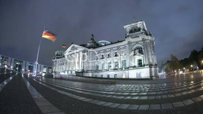 The Reichstag Building Dynamic Night HD City Timelapse in Berlin, housing the German goverment