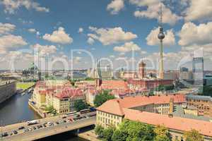 Berlin Skyline City, Capital of Germany in cloudy blue sky