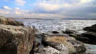 landscape of granite bank of the river.