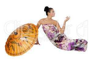 Attractive girl with umbrella