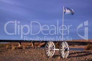 Wheels and flag