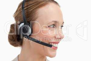 Profile of a businesswoman with a headset