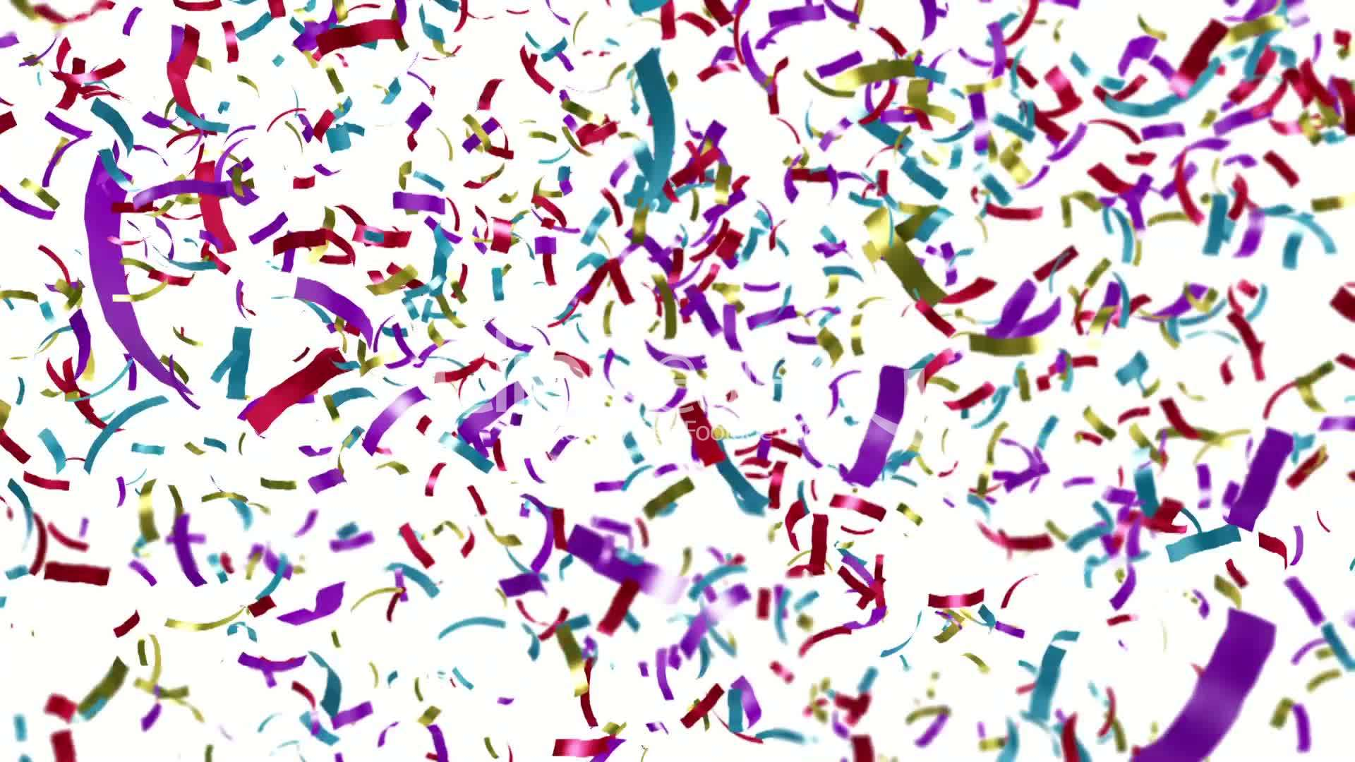 loopable clip of colorful confetti falling  royalty