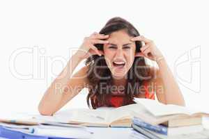 Student goes crazy doing her homework