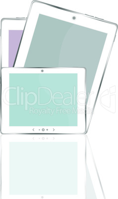 vector illustration of different colored vertical tablet pc set with copyspace on the screen