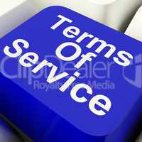 Terms Of Service Computer Key In Blue Showing Website Agreement