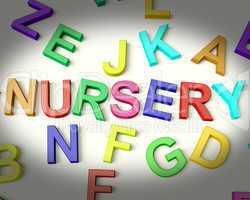 Nursery Written In Plastic Kids Letters