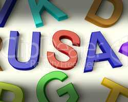 Usa Written In Plastic Kids Letters