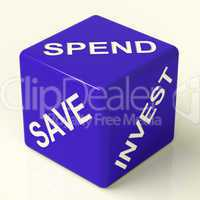 Save Spend Invest Dice Showing Financial Choices