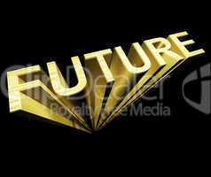 Future Text In Gold And 3d As Symbol For Improvement And Opportu