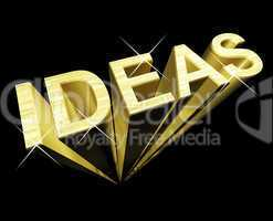 Ideas Text In Gold And 3d As Symbol For Thought And Inspiration