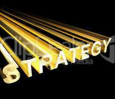 Strategy Text In Yellow And 3d As Symbol For Planning And Improv