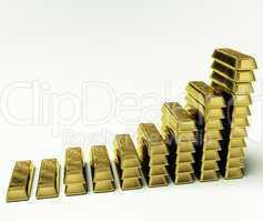 Gold Bars Graph As Symbol For Increasing Wealth Or Treasure