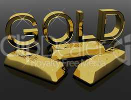 Gold Letters And Bars As Symbol For Wealth Or Riches