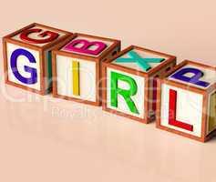 Kids Blocks Spelling Girl As Symbol for Kids And Childhood
