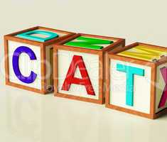 Kids Blocks Spelling Cat As Symbol for Cats And Pets