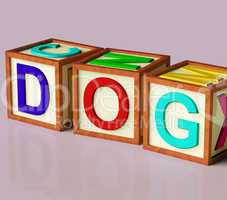 Kids Blocks Spelling Dog As Symbol for Dogs And Pets