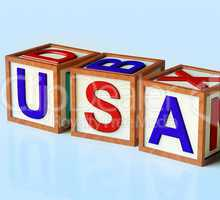 Blocks Spelling Usa As Symbol for  America And Patriotism