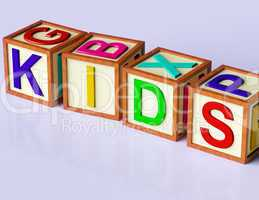 Blocks Spelling Kids As Symbol for Childhood And Children