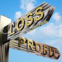 Loss Or Profit Directions On A Signpost