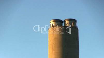 Power plant smoke stack zoom right no pollution