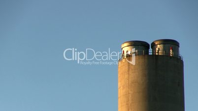 Power plant smoke stack zoom right no pollution 2