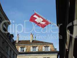 Swiss flag in old town, Geneva