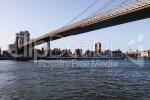 Brooklyn Bridge towards midtown manhattan