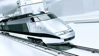 Futuristic white train
