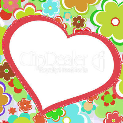 beautiful bright flower heart. vector card