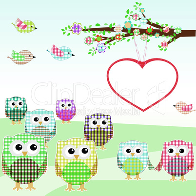 owls and birds on tree branches. vector nature element Set