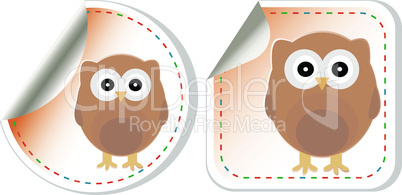 holiday label set - very cute owl scrapbooking elements sticker. vector