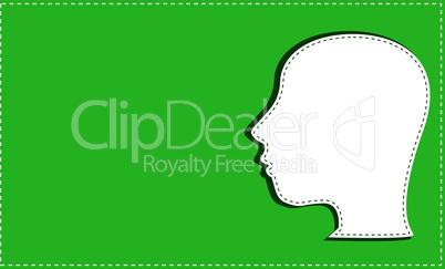 silhouette of man head on green invitation card