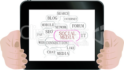 Social media and network concept on tablet computer